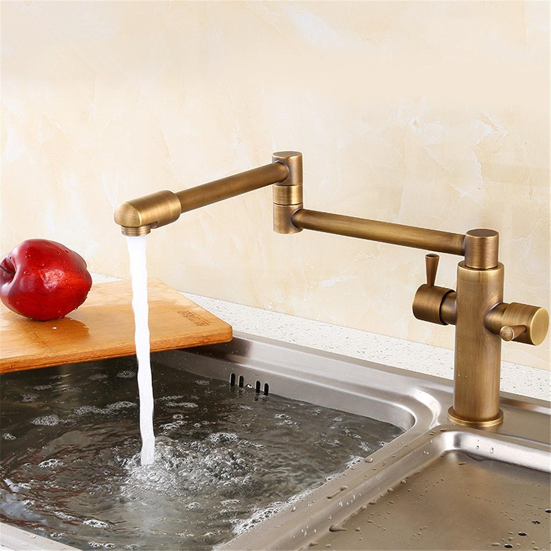 Bijjaladeva Bathroom Sink Vessel Faucet Basin Mixer Tap Kitchen faucet antique copper-wide foldable telescopic cold-hot tank washing dishes basin mixer 360 redary antique color fol