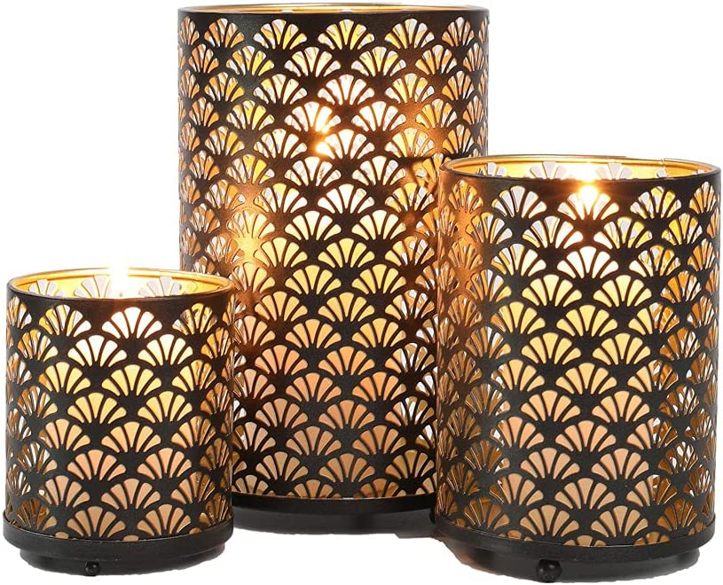 JHY DESIGN Set of Max 82% OFF 3 Metal Cheap mail order shopping Bronze Holders Candle Hurricane Pillar