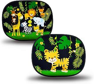 HECKBO® - självhäftande solskydd för spädbarn och barn - 2 färgglada mönster med 1 x tiger i djungel och 1 x djungeldjur -...