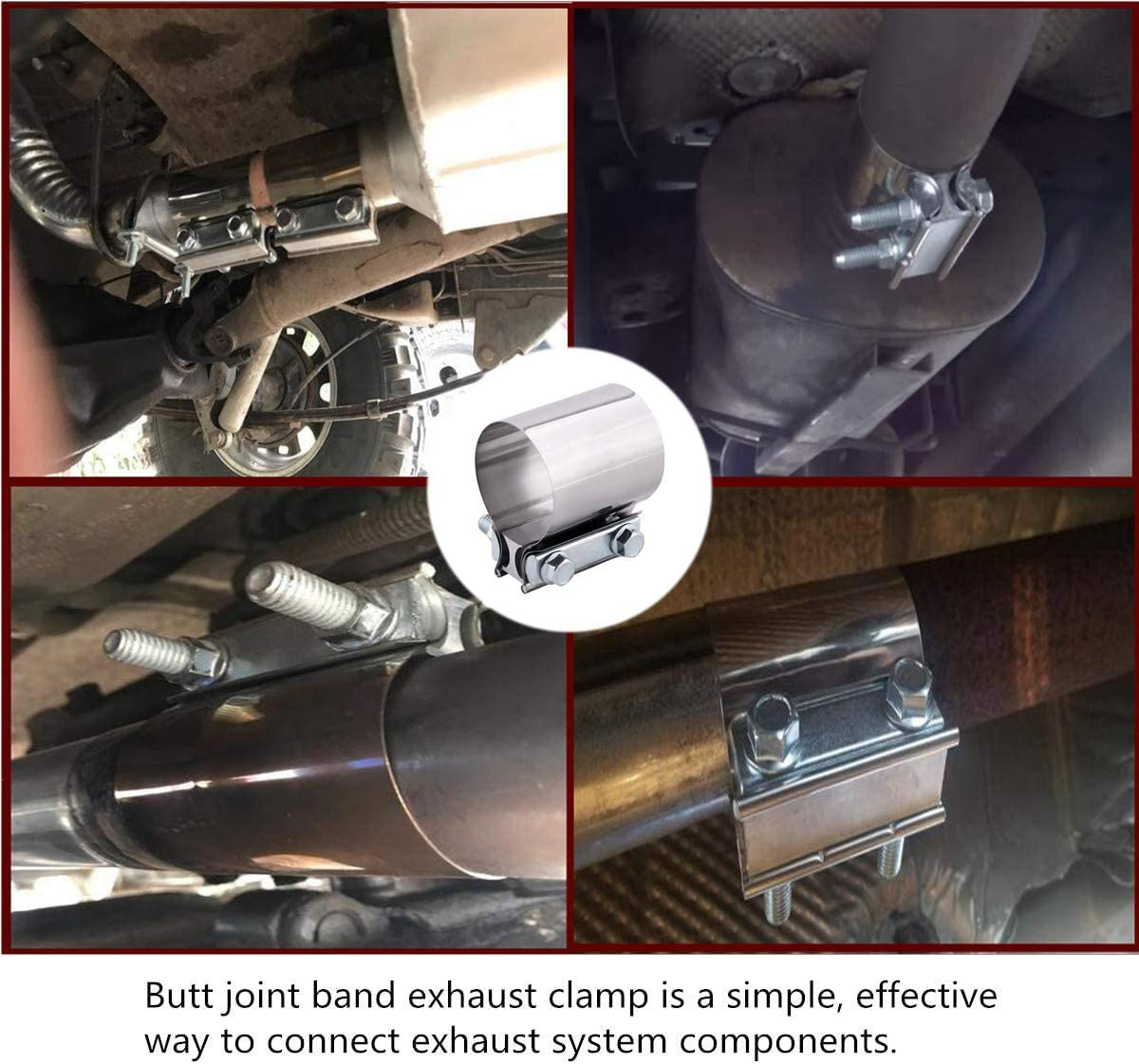 Exhaust Pipe Clamp 2.5 Inch Universal Car Exhaust Sleeve Lap Joint Band Clamp with Bolts for Pipe Fixing JatilEr 2 Pcs Exhaust Muffler Pipe Connector Stainless Steel U Shape Exhaust Clamp