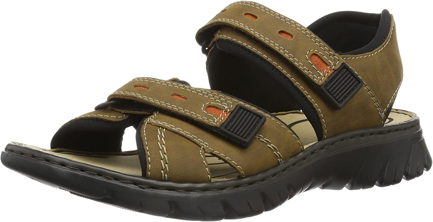Rieker Mens Sandal Brown Black