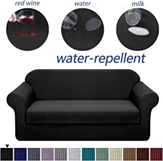 Granbest Stretch Sofa Slipcovers 3 Cushion Couch Covers Water-Repellent Pet Furniture Covers Dog Couch Protectors (Black, Sofa-2 Pieces)