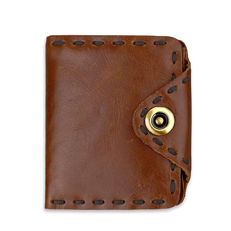 するピニオン呪いAdisaer-本革 レザー メンズ 男性用 財布 レトロ 二つ折り財布 スナップボタン 父の日 記念日 誕生日 ギフト プレゼント 特別な贈り物