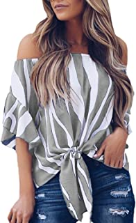 292e177c1bb Asvivid Women's Striped Off Shoulder Bell Sleeve Shirt Tie Knot Casual Blouses  Tops