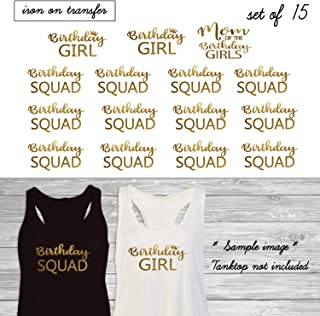 Set of 15,1- Mom of the Birthday Girls,2- Birthday Girl, 12 - Birthday Squad iron on, DIY Bachelorette Party iron on for T shirt (#JS)