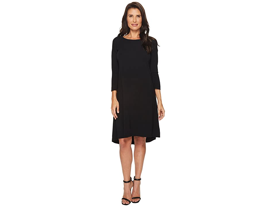 Mod-o-doc Cotton Modal Spandex Jersey 3/4 Sleeve Lace-Up Back Dress (Black) Women