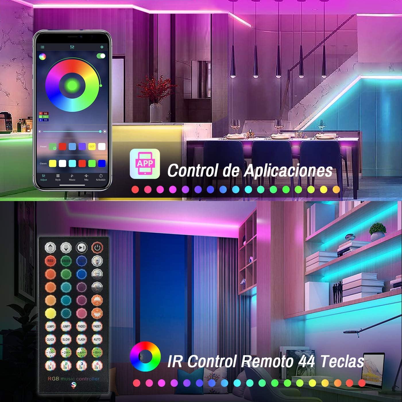 ERAY Tiras LED Bluetooth 15M Bares Ideal para Decoraci/ón de Techo Habitaci/ón Luces LED RGB 5050 450LEDs// Control Remoto//Aplicaci/ón//Funci/ón de Corte//Modo de M/úsica//Temporizador Color Blanco