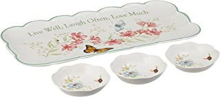 Lenox Butterfly Meadow Sentiment 4pc Hors D'Oeuvres Tray with Dipping Bowls