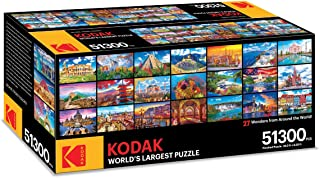 Kodak Premium Puzzle Presents: The World's Largest Puzzle 51,300 Pieces 27 Wonders from Around The World 28.5 Foot x 6.25 Foot Jigsaw Puzzle