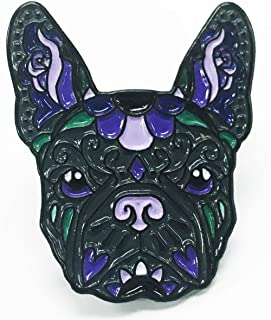 French Bulldog Black Purple Sugar Skull Tattoo Breed Dog Lover Enamel Lapel Pin