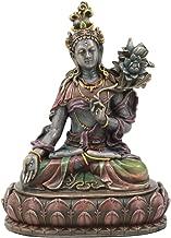 Ebros Bodhisattva White Tara Statue Goddess of Compassion and Healing Meditating On Lotus Seat Throne Buddha Sculpture Eastern Enlightenment Buddhism Figurine