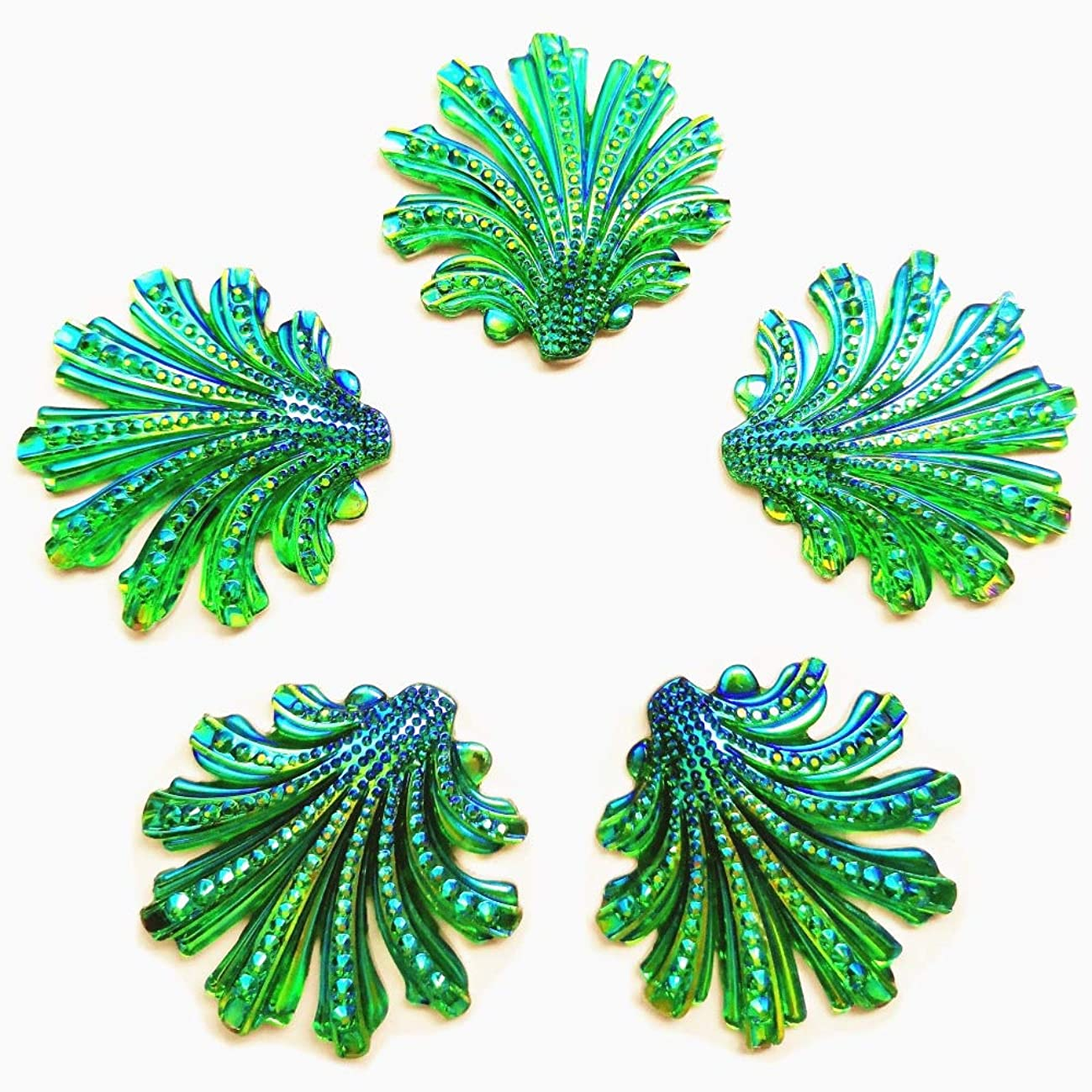 15 inch Sparkly Buttons Big Leaf Shape AB Color Sew On Crafts Rhinestones Flatback Beads Sewing for Costume Wedding Dress Decorations 15pcs Homemade DIY Projec (Green)