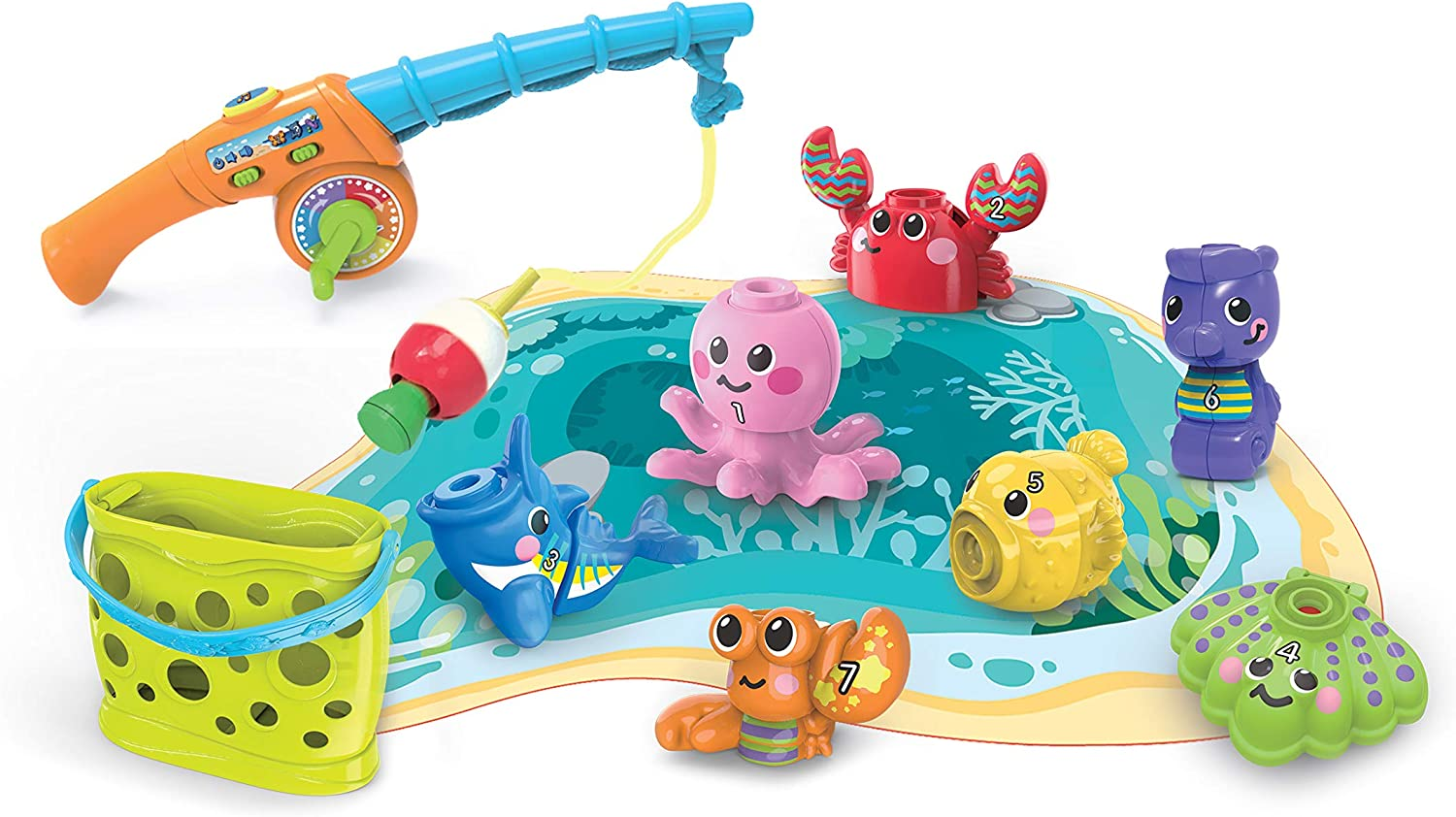 VTech Wiggle and Jiggle Fishing Fun, Educational Toy with Sea Animal Characters, Interactive Baby Toy for Sensory Play, Learning Games with Sounds and Phrases, Suitable for Girls and Boys 2 Years + :