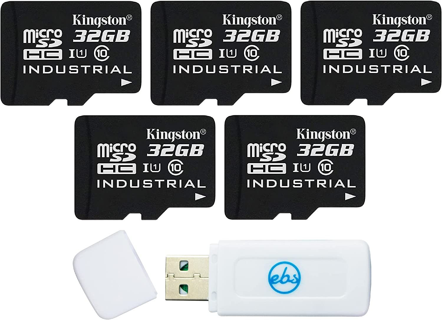 Kingston Industrial MicroSD 32GB Memory Card (5 Pack) Class 10 with Adapter (SDCIT/32GB) Bundle with (1) Everything But Stromboli TF & SD Card Reader