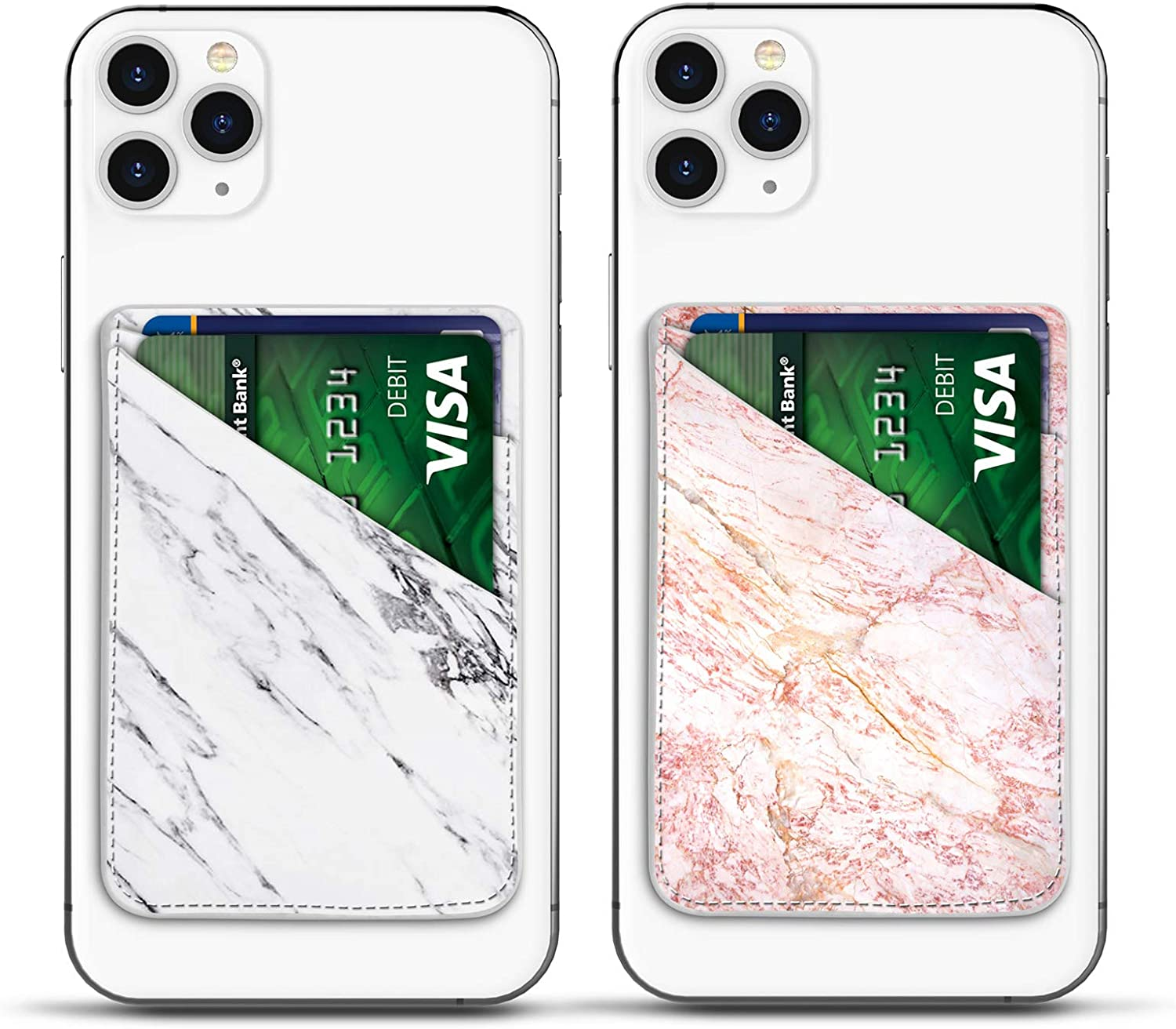 Njjex 2 Pack Marble Phone Card Holder for Back of Phone, PU Leather ID Credit Card Wallet Cover Case Pouch Sleeve Pocket 3M Adhesive Stick on iPhone Samsung Galaxy LG Motorola Android Smartphones
