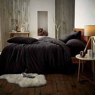 RAYYAN Linen Teddy Fleece Duvet Cover Bedding Set Thermal Warm Cosy Soft Fur Quilt Cover Bedding Set with Pillowcase(s) (B...