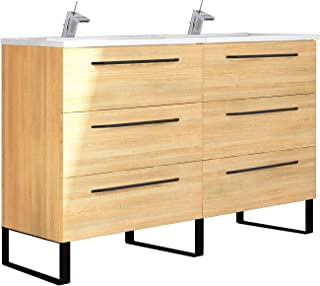 Double Modern Bathroom Vanity Cabinet Set | Dakota Hawaii Oak Wood | Black Handles | 48 x 33 x 18 Inch Vanity Cabinet + Ceramic Top Sink | 6 Drawers