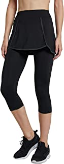 Westkun Women's Leggings with Skirt Sports Running Golf Tennis Capris Trousers Workout 3/4 Skirted Yoga Pants with Ball Po...