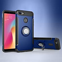Shockproof Dual 2-in-1 Armored Personality Case With 360-degree Rotating Ring Bracket And Magnet Car Holder Compatible with OPPO F5 Youth/OPPO A73 (Color : Blue)