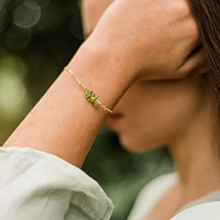 "Peridot bead bar crystal bracelet in 14k gold fill - 6"" chain with 2"" adjustable extender - August birthstone"