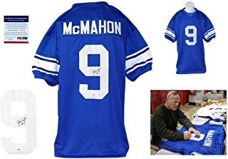 Signed Jim McMahon Jersey - w Photo Royal - PSA/DNA Certified - Autographed NFL Jerseys