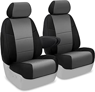 Coverking Custom Fit Front 50/50 Bucket Seat Cover for Select Dodge Grand Caravan Models - Spacermesh 2-Tone (Gray with Black Sides)
