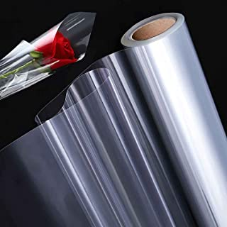 GENDAKO Rouleau de Cellophane Transparent Papier Cadeau Transparent Fleuriste Papier Transparent Emballage Cadeau Rouleau ...