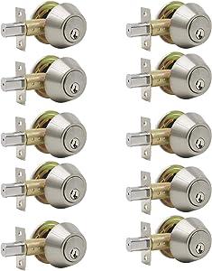 10 Pack Probrico Interior Bedroom Double Cylinder Deadbolt One Keyway Keyed Alike Same Key Safety Bolt Door Lock Lockset in Satin Nickel-Double Deadbolt-102