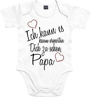 Mister Merchandise Mister Merchandise Baby Body Ich kann es kaum erwarten Dich zu sehen Papa Strampler liebevoll bedruckt Wiedersehen Weg Reise Weiß, 3-6