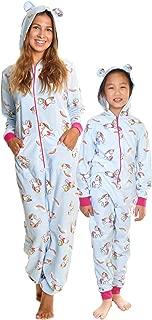 Women's & Kid's Fleece Novelty One-Piece Hooded Pajamas
