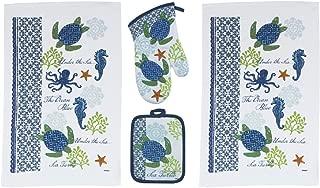 Kay Dee 4 Piece Sea Turtle Kitchen Set - 2 Terry Towels, Oven Mitt, Potholder,Blue
