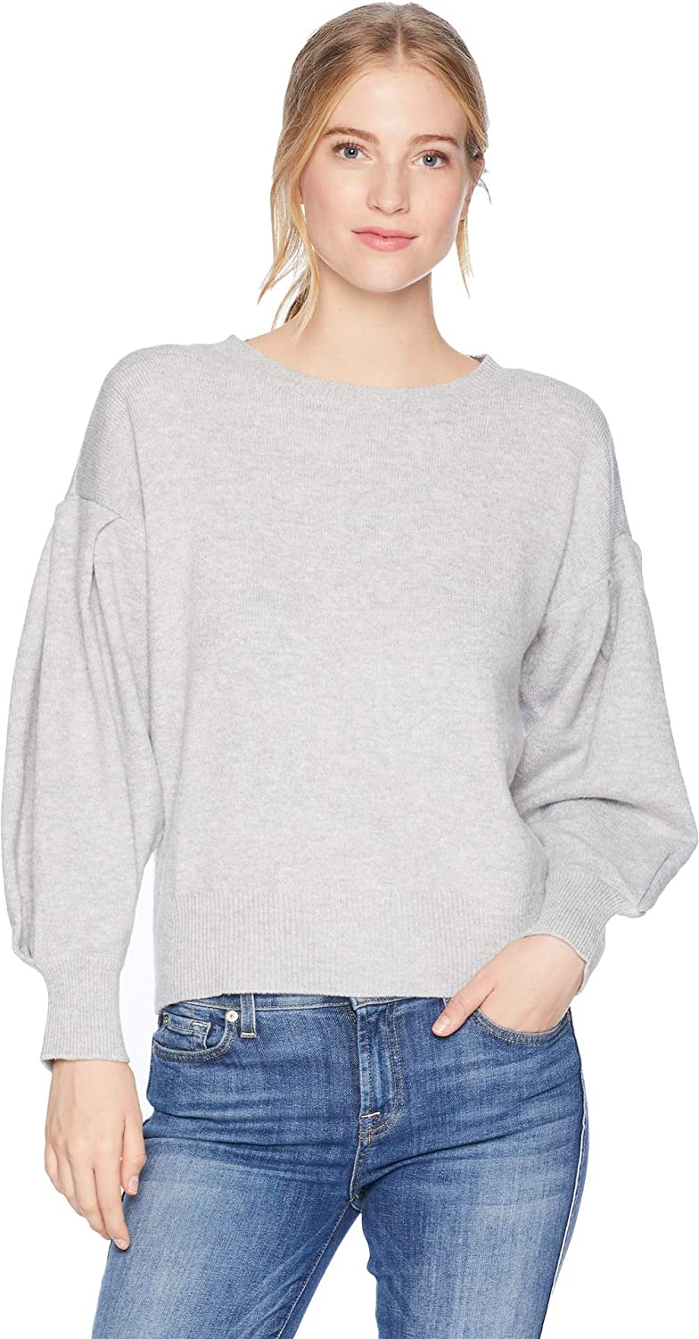 1.STATE Womens Crew Neck Blouson Sleeve Sweater