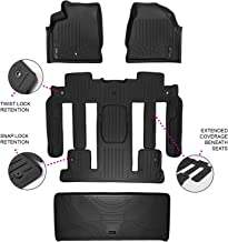 MAXLINER Floor Mats 3 Rows and Cargo Liner Behind 3rd Row Set Black for Acadia/Outlook with 2nd Row Bucket Seats