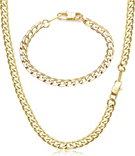 Adramata 6 / 9mm Collana a Catena in Acciaio Inossidabile Color Oro per Uomo Collana a Maglia Cubana e Set di bracciali pe...