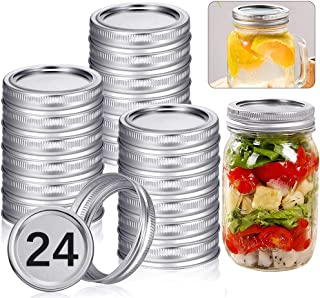 24 Pack Canning Jar Lids and Bands for Regular Mouth Mason Jars, Leak Proof Storage Stainless Can Covers Caps and Rings wi...