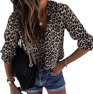 Camisa de Gasa Mujer Blusas Estampadas Leopardo Escote V Blusa Manga Larga Camisas Oficina Señora Top Camiseras Elegantes Camisetas Cuello V Blusones ...