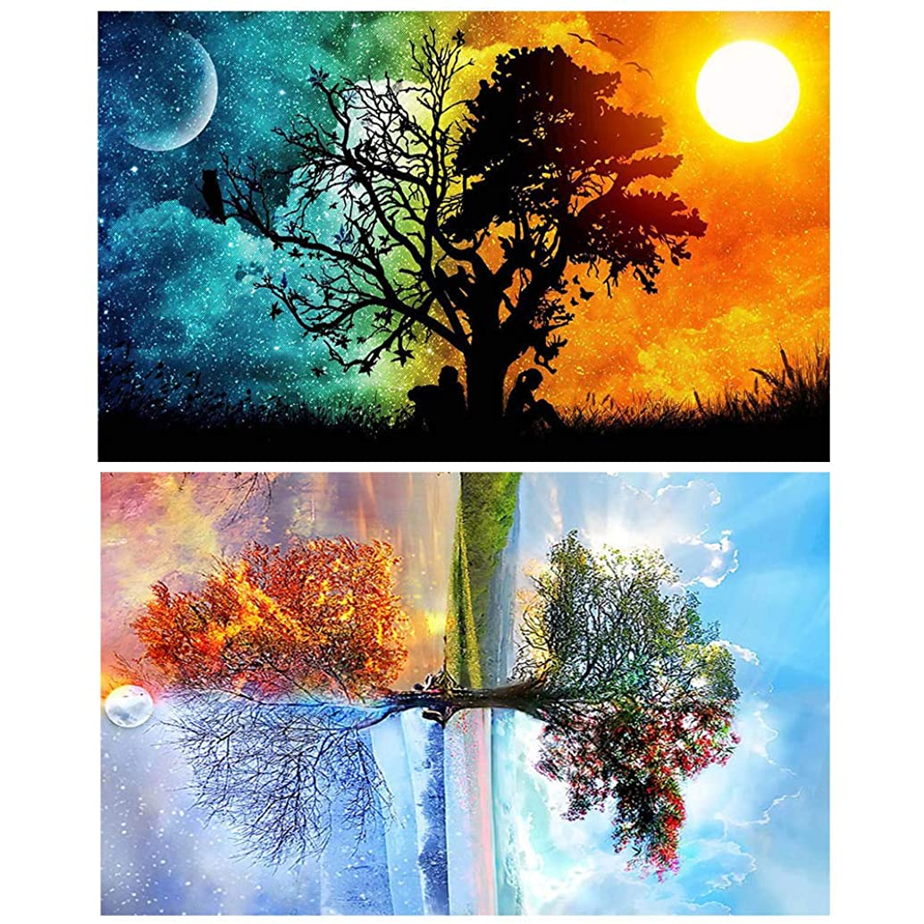 SUMAJU 2 Pack 5D Diamond Painting Full Drill, Starry Sky & Four Season Tree Crystal Rhinestone Paintings Common Level Diamond Painting Kits