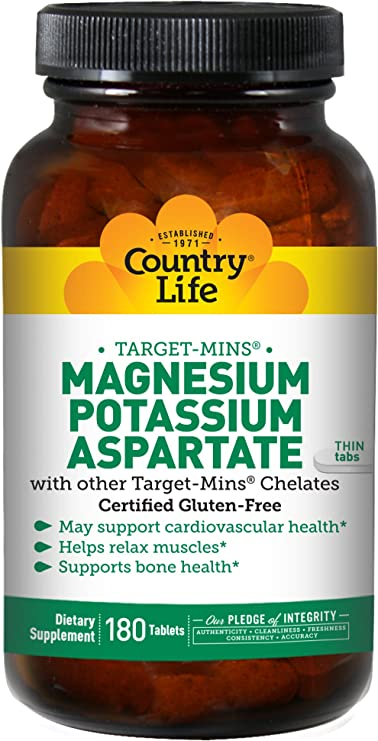Amazon.com: Country Life Target-Mins Magnesium Potassium Aspartate - 180 Tablets - Cardiovascular - Bone Health - Relax Muscles : Health & Household