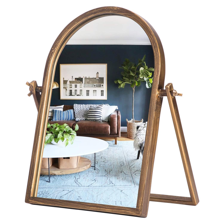 Buy Geloo Vintage Vanity Mirrors Decor Desk Makeup Mirror 360 Adjustable Rotation Golden Metal Framed Small Standing Mirror For Tabletop Office Bedroom Bathroom Living Room Online In Turkey B089nmn5qs
