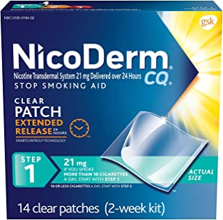 NicoDerm CQ Nicotine Patches To Quit Smoking, Step 1 Stop Smoking aid, 21mg, 14Count