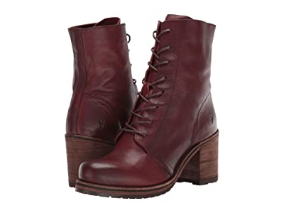 Frye Karen Combat (Plum Vegetable Tan Leather) Women