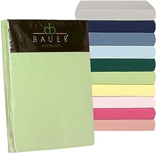 Curt Bauer Drap-Housse uni en Satin de Coton mako Taille L 90x 200cm L Couleur 3750Malachite L Pur Coton