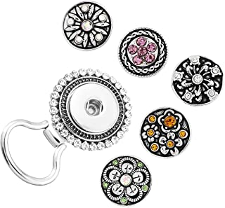 3-12PCS Interchangeable Flower Snap Buttons Centerpiece Rhinestone Eye Glass Holding Magnetic Brooch
