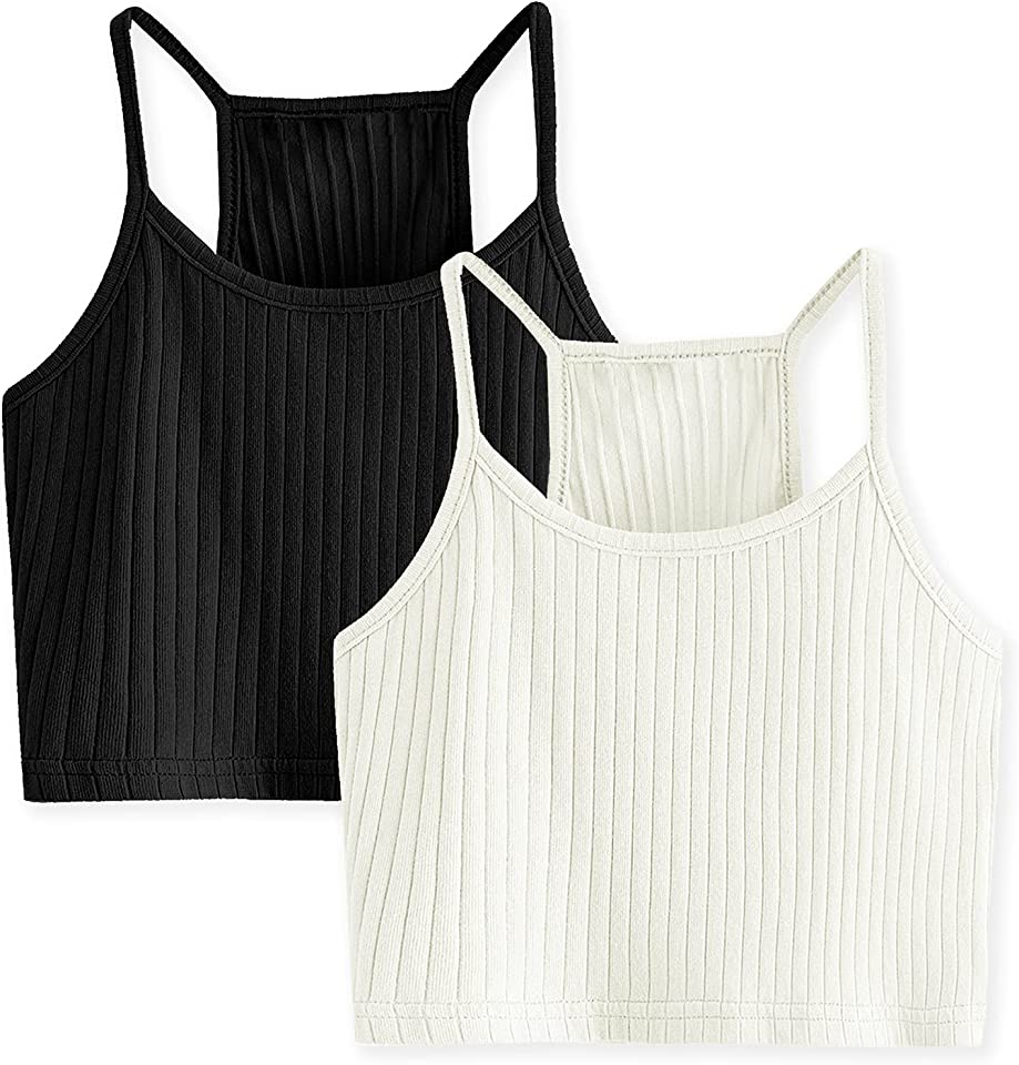 Girl's Cami Ribbed Knit Sleeveless Racerback Crop Tops 2-Pack Camisole