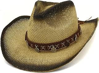 XinLin Du Outdoor Beach Cowboy Hat Visor Hat Spray Paint Cowboy Straw Hat Round Pendant Tassel Fashion Women Belt Top Hat