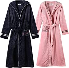 Couple Bathrobes Men and Women Winter Thicken Warm Mid-length Flannel Nightgown Fashion Home Striped Hooded Pajamas(Size:L...
