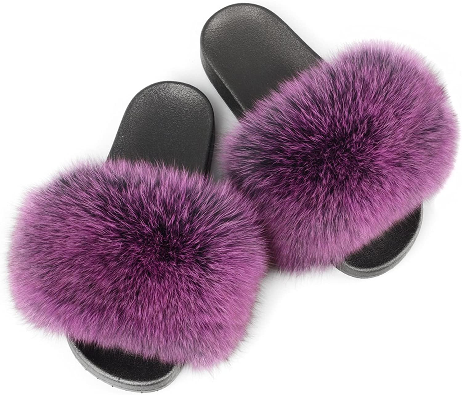 Jancoco Max Women Real Fox Fur Slippers Slides Flat Soft Summer shoes for Girls