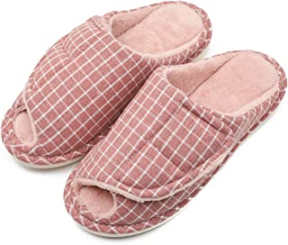 Women's Furry Memory Foam Diabetic Recovery Slippers, Adjustable Closure Orthopedic Shoes Fit for Swollen Feet Plantar Fasciitis Edema Bunions