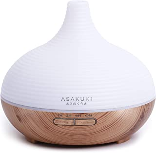 ASAKUKI 300ML Essential Oil Diffuser, Quiet 5-in-1 Humidifier, Natural Home Fragrance Diffuser with 7 LED Color Changing L...