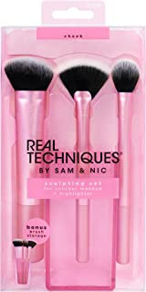 Real Techniques Cruelty Free Sculpting Set, Includes: Sculpting Brush, Fan Brush, Setting Brush & Brush Cup, Synthetic Bristles
